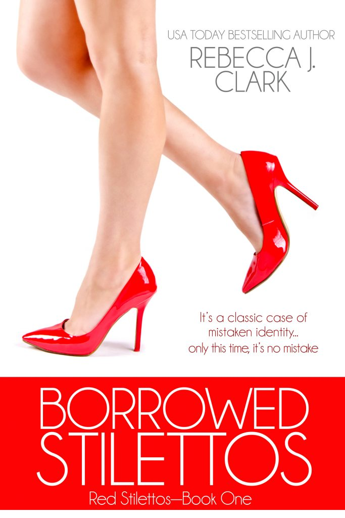 Borrowed Stilettos cover, lady in red stilettos